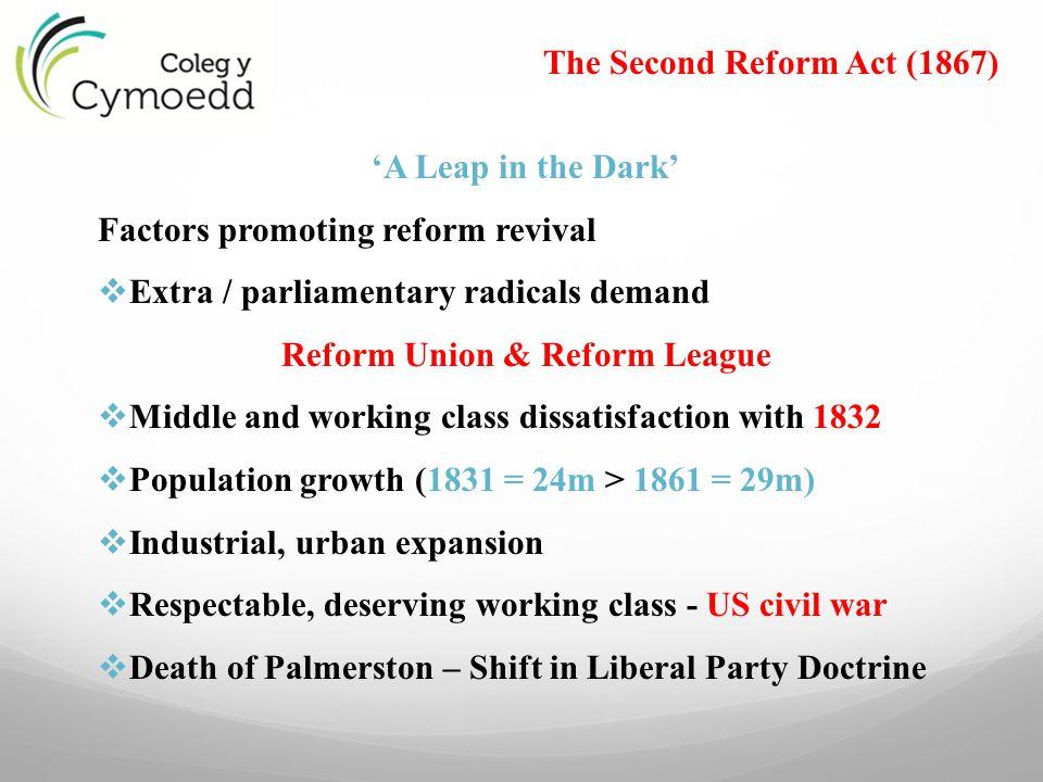 The Second Reform Act (1867) Reform Union & Reform League