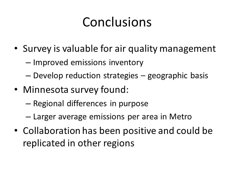 Conclusions Survey is valuable for air quality management
