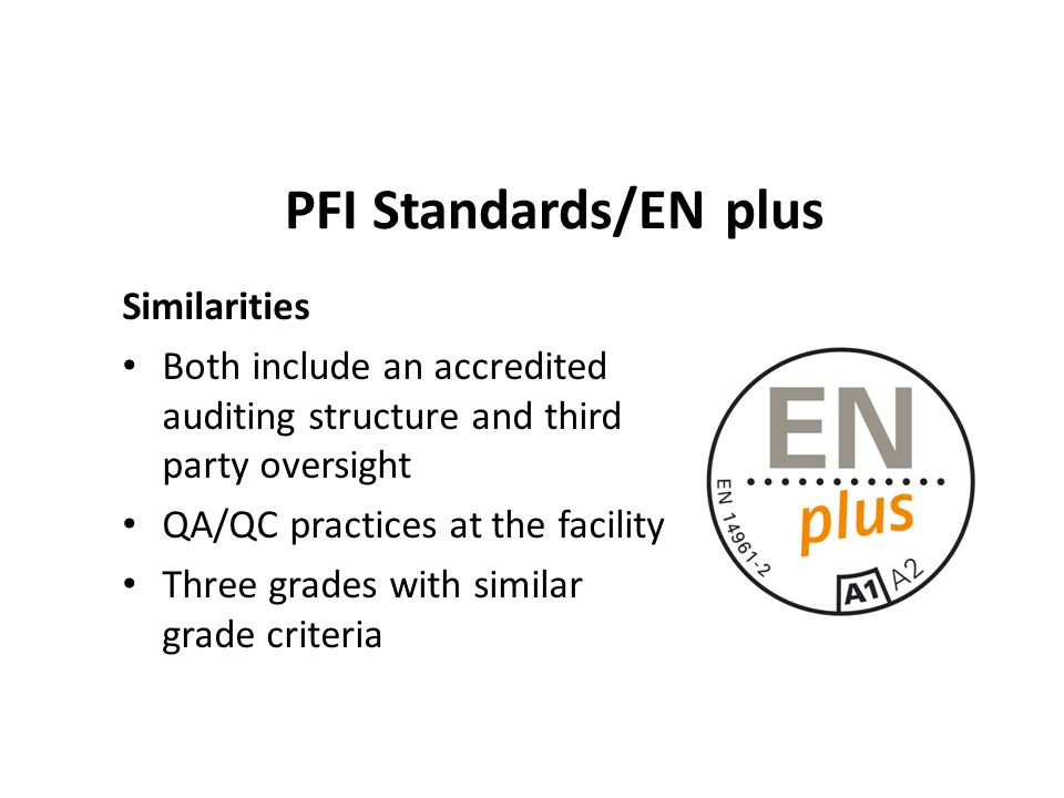 PFI Standards/EN plus Similarities