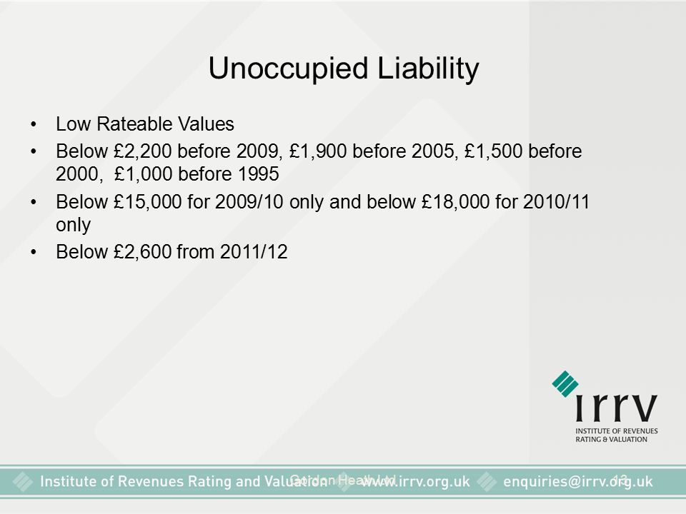 Unoccupied Liability Low Rateable Values