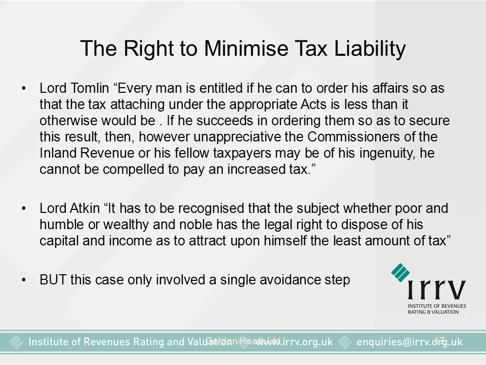 The Right to Minimise Tax Liability