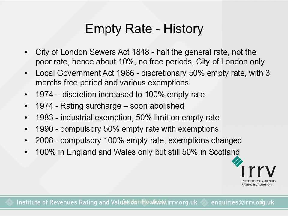 Empty Rate - History City of London Sewers Act 1848 - half the general rate, not the poor rate, hence about 10%, no free periods, City of London only.