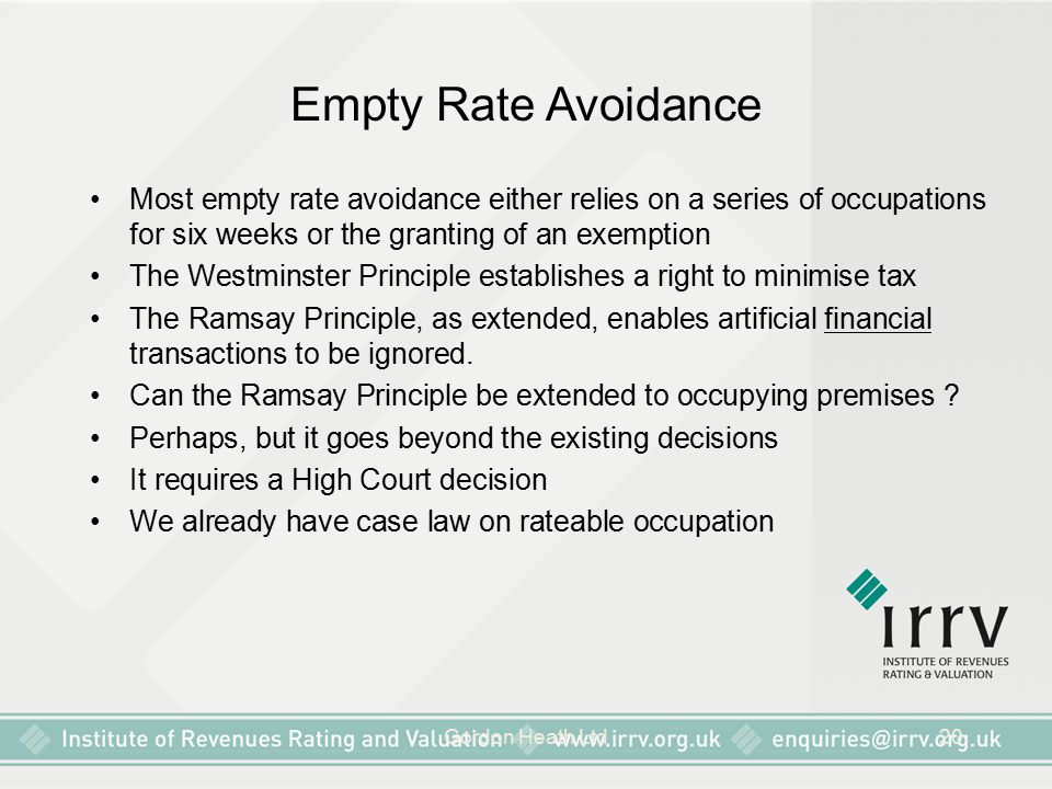 Empty Rate Avoidance Most empty rate avoidance either relies on a series of occupations for six weeks or the granting of an exemption.