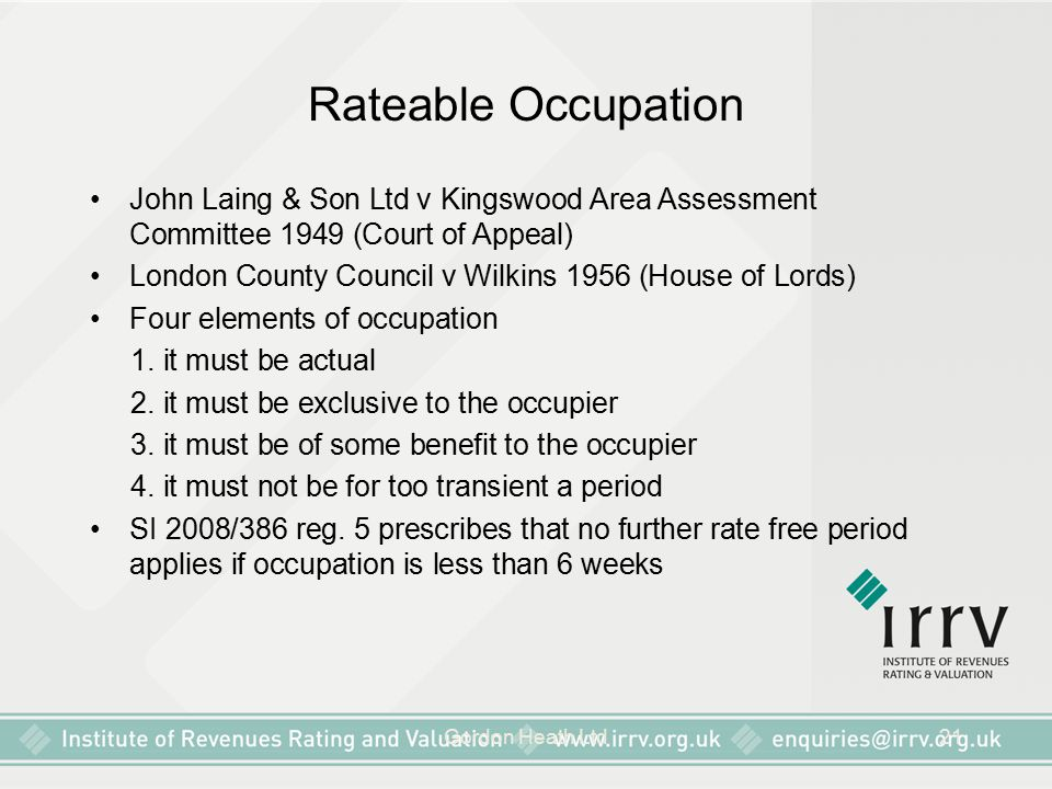 Rateable Occupation John Laing & Son Ltd v Kingswood Area Assessment Committee 1949 (Court of Appeal)