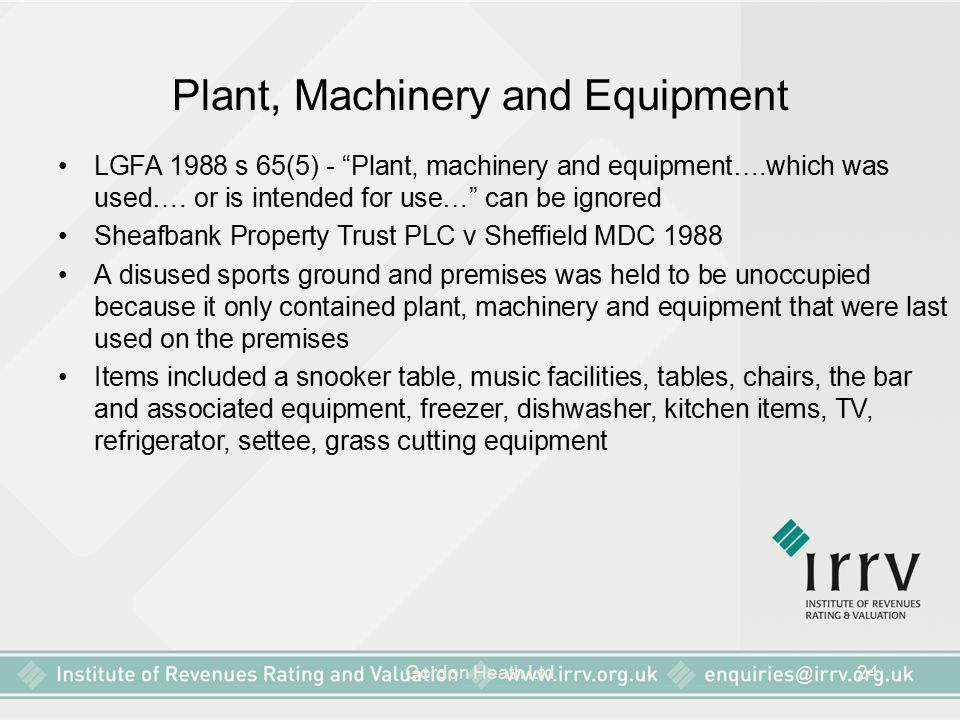 Plant, Machinery and Equipment