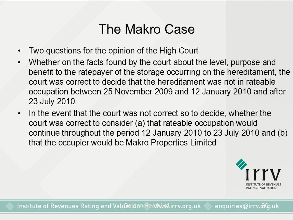 The Makro Case Two questions for the opinion of the High Court