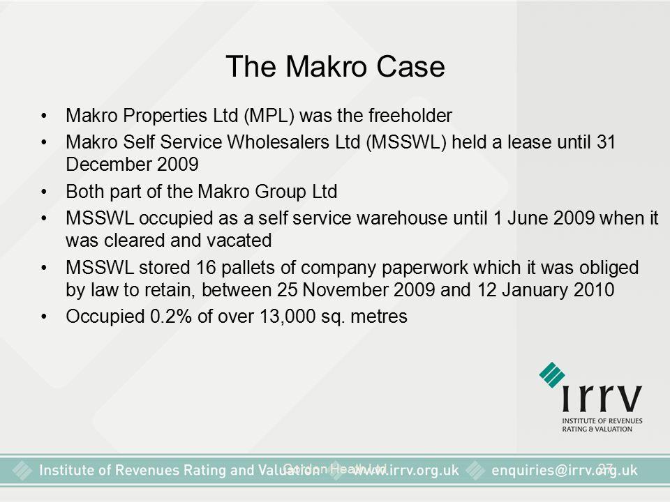 The Makro Case Makro Properties Ltd (MPL) was the freeholder