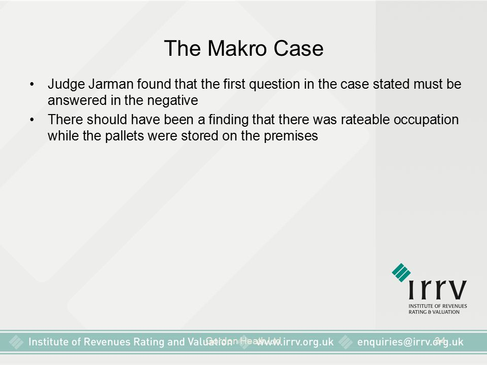 The Makro Case Judge Jarman found that the first question in the case stated must be answered in the negative.
