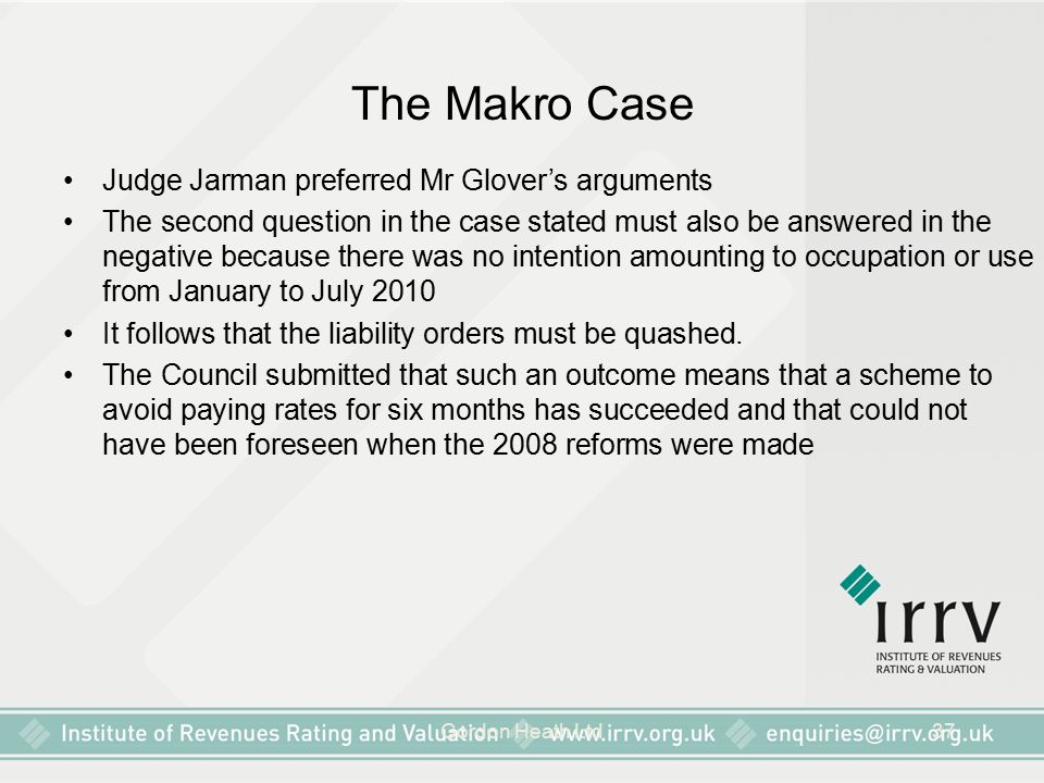 The Makro Case Judge Jarman preferred Mr Glover's arguments