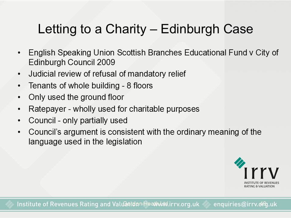 Letting to a Charity – Edinburgh Case
