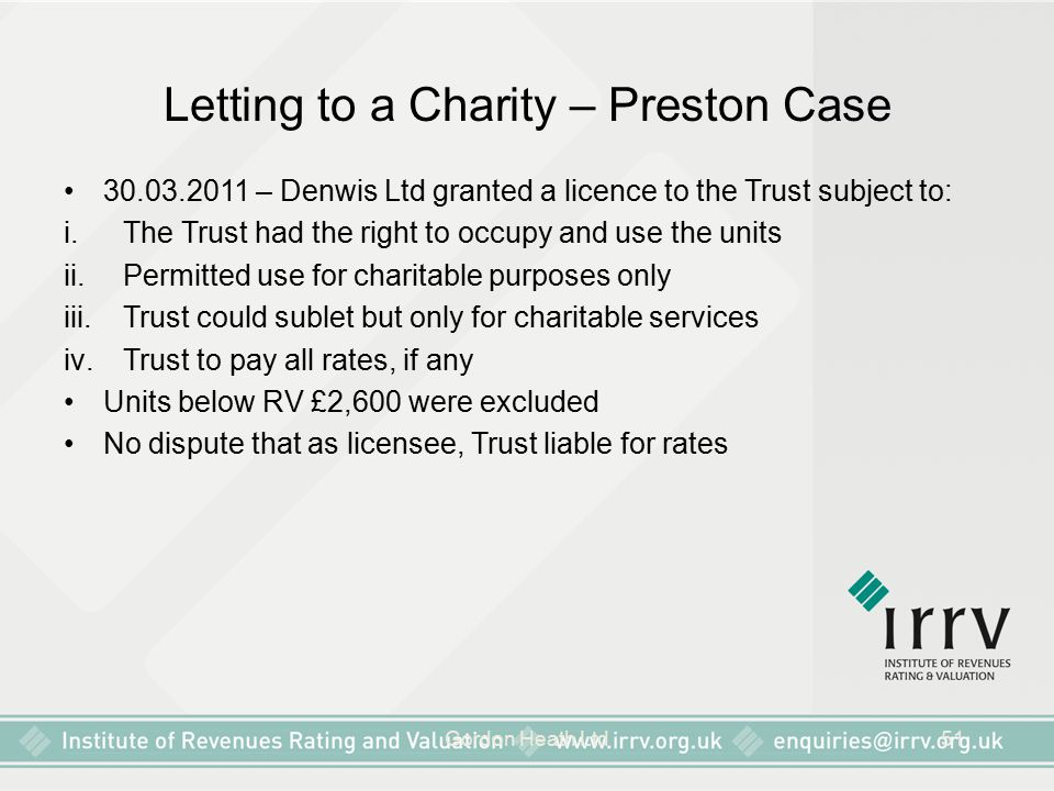 Letting to a Charity – Preston Case