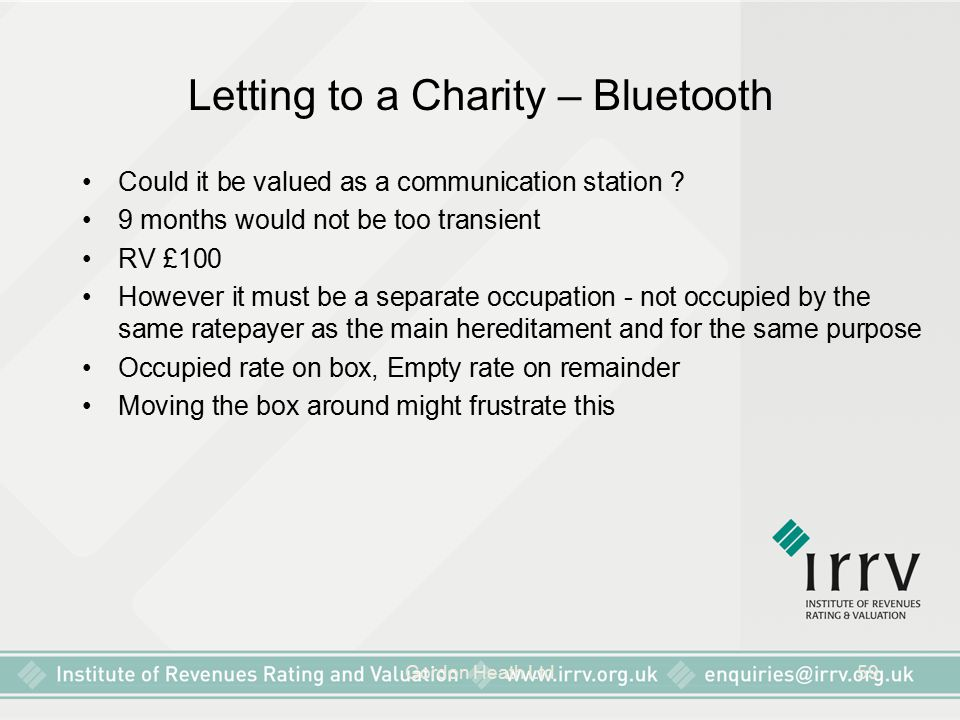 Letting to a Charity – Bluetooth