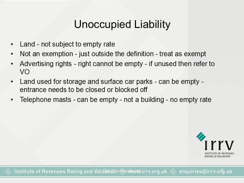 Unoccupied Liability Land - not subject to empty rate