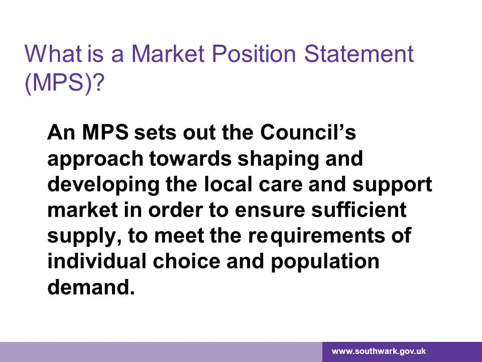 What is a Market Position Statement (MPS)