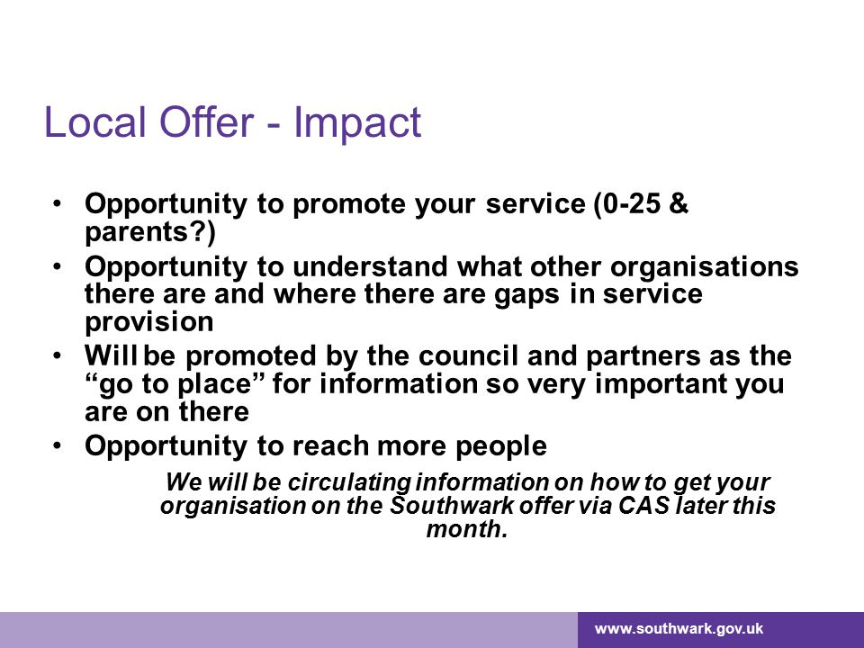 Local Offer - Impact Opportunity to promote your service (0-25 & parents )
