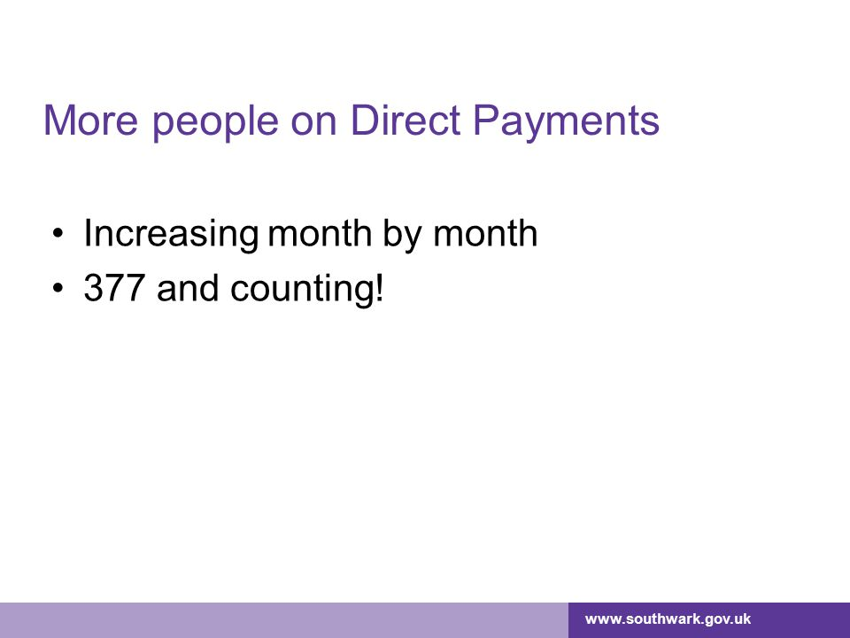 More people on Direct Payments