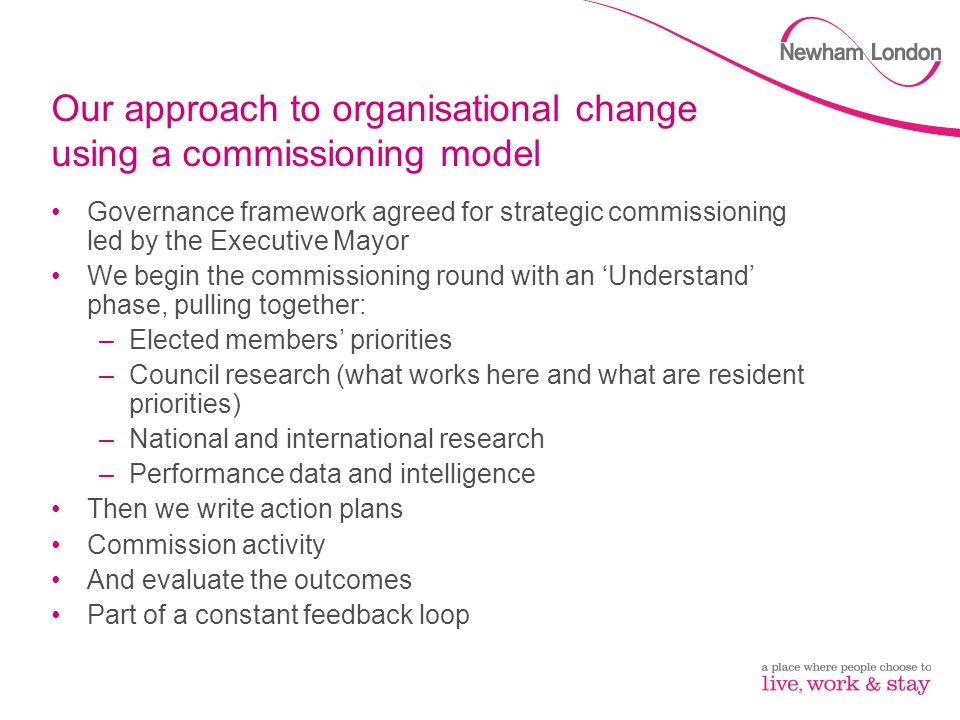 Our approach to organisational change using a commissioning model