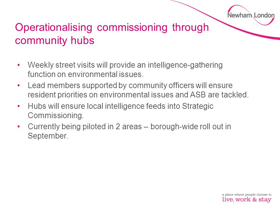 Operationalising commissioning through community hubs