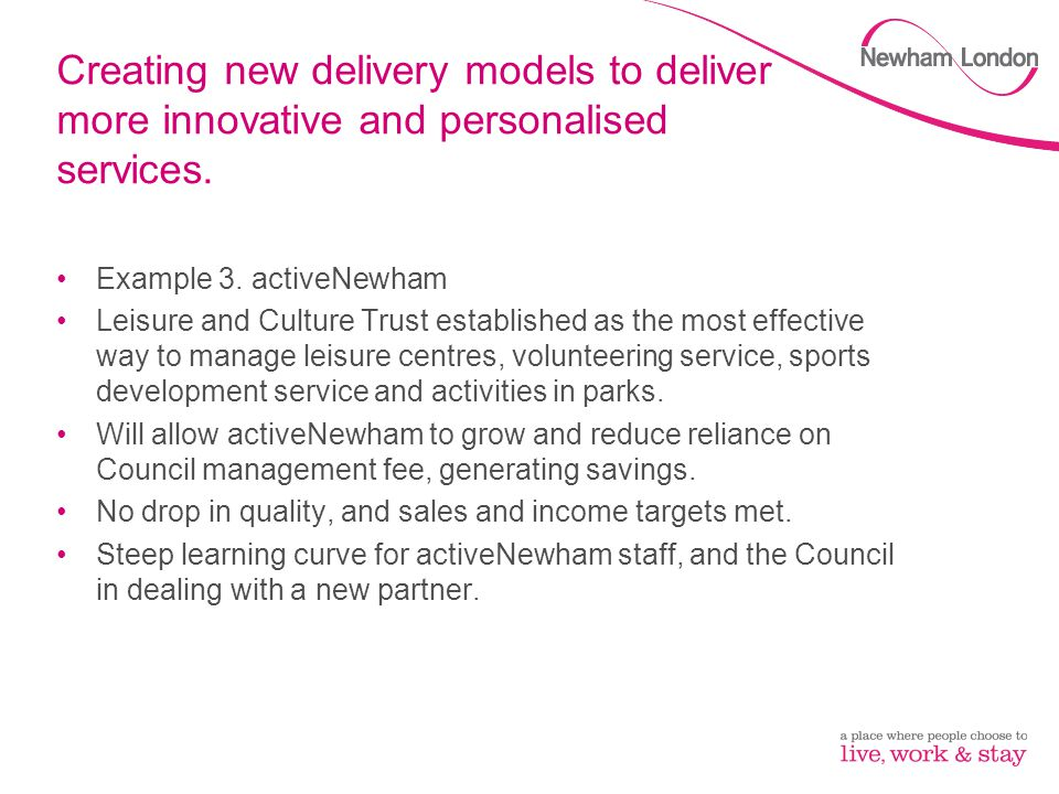 Creating new delivery models to deliver more innovative and personalised services.