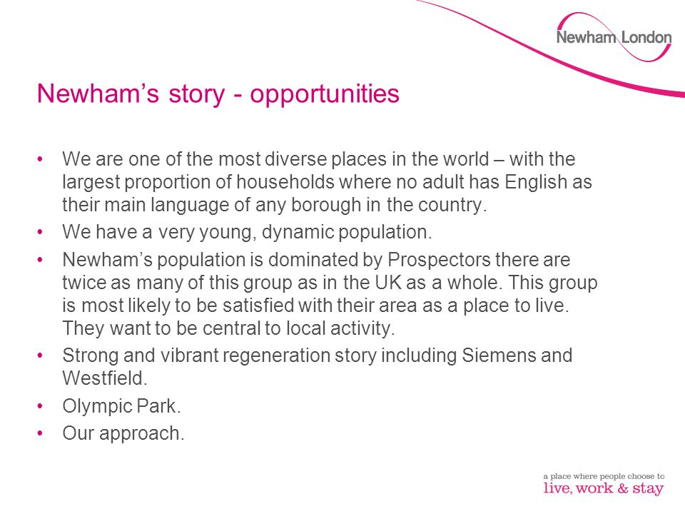 Newham's story - opportunities