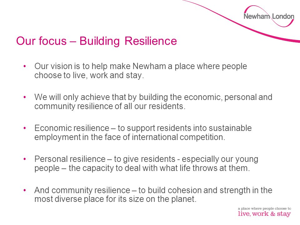 Our focus – Building Resilience