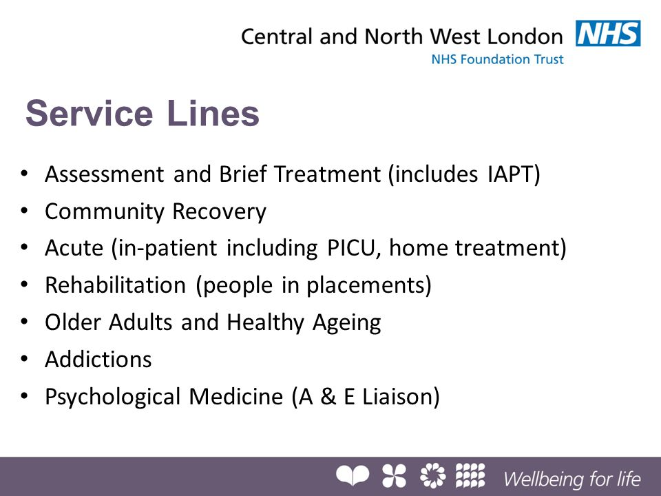 Service Lines Assessment and Brief Treatment (includes IAPT)