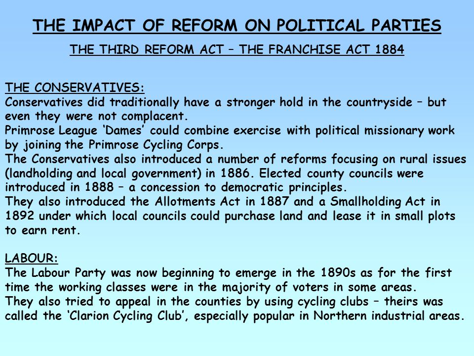 THE IMPACT OF REFORM ON POLITICAL PARTIES