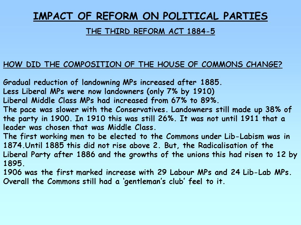 IMPACT OF REFORM ON POLITICAL PARTIES