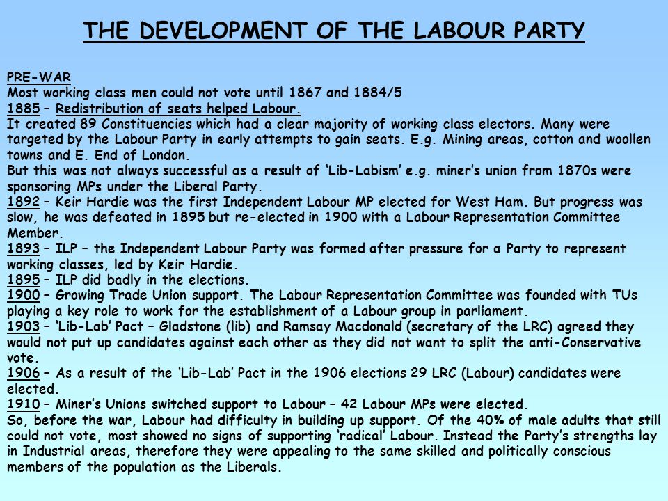 THE DEVELOPMENT OF THE LABOUR PARTY