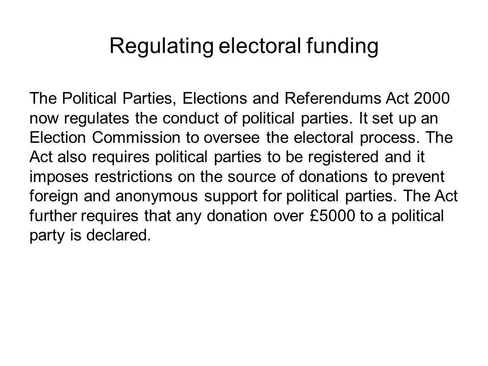 Regulating electoral funding