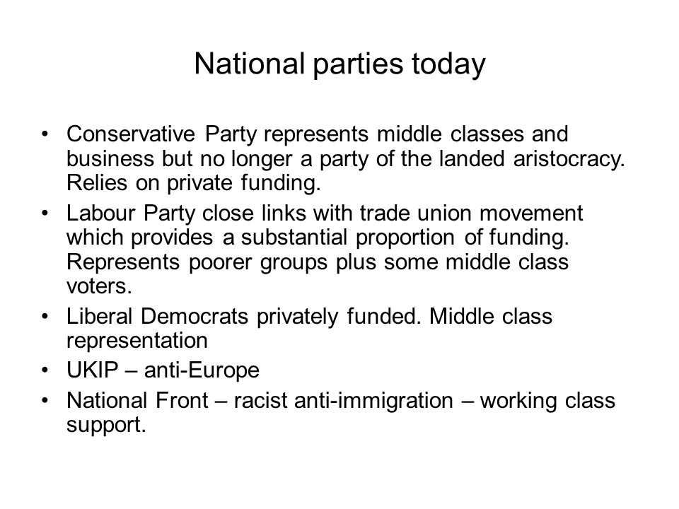 National parties today