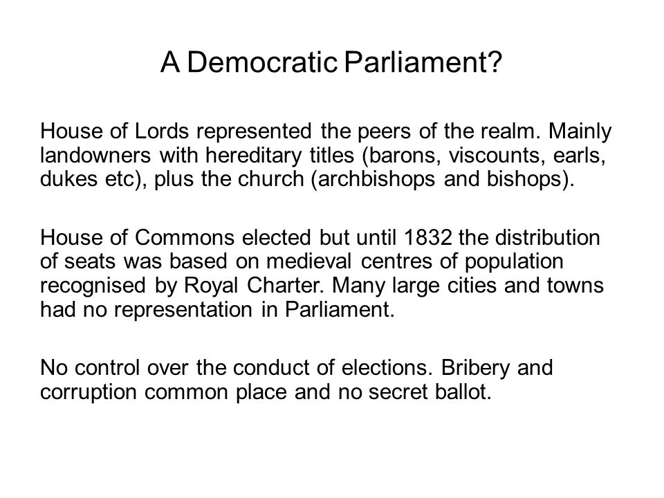 A Democratic Parliament