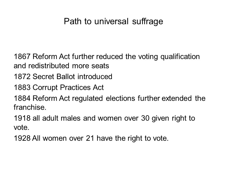 Path to universal suffrage