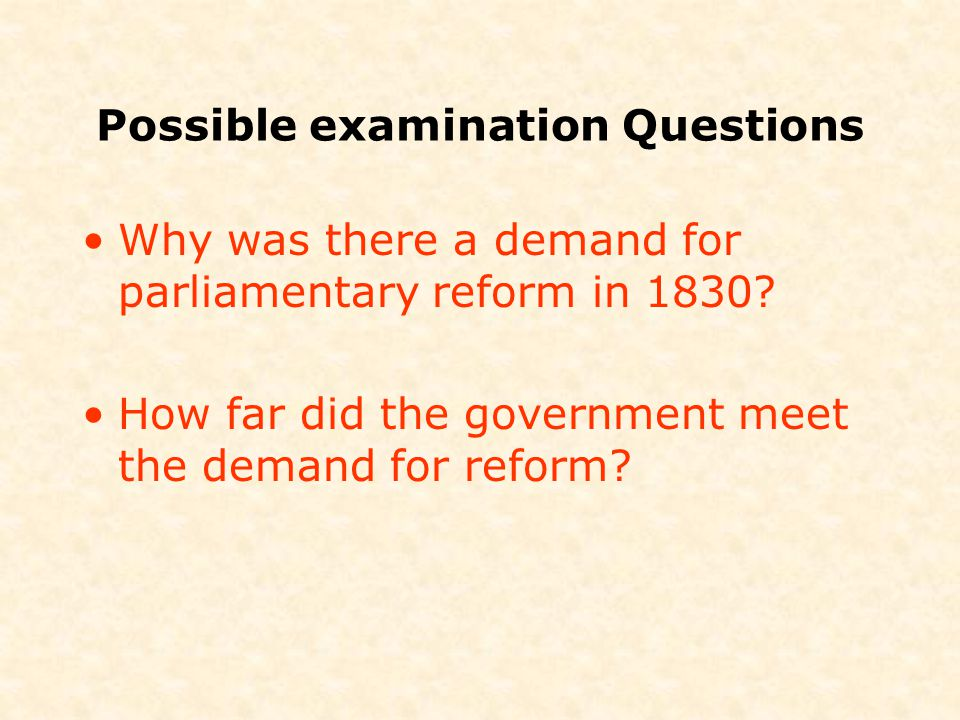 Possible examination Questions