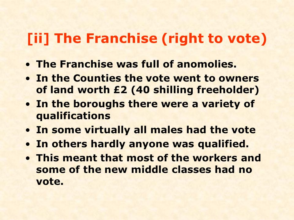 [ii] The Franchise (right to vote)