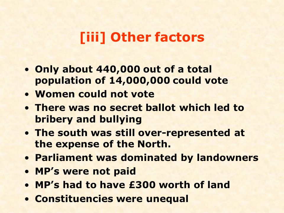 [iii] Other factors Only about 440,000 out of a total population of 14,000,000 could vote. Women could not vote.