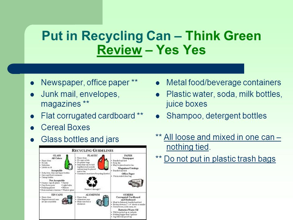 Put in Recycling Can – Think Green Review – Yes Yes