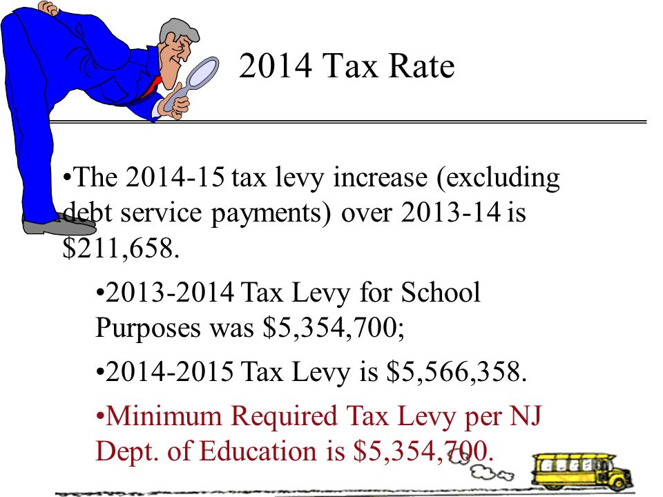 2014 Tax Rate The 2014-15 tax levy increase (excluding debt service payments) over 2013-14 is $211,658.
