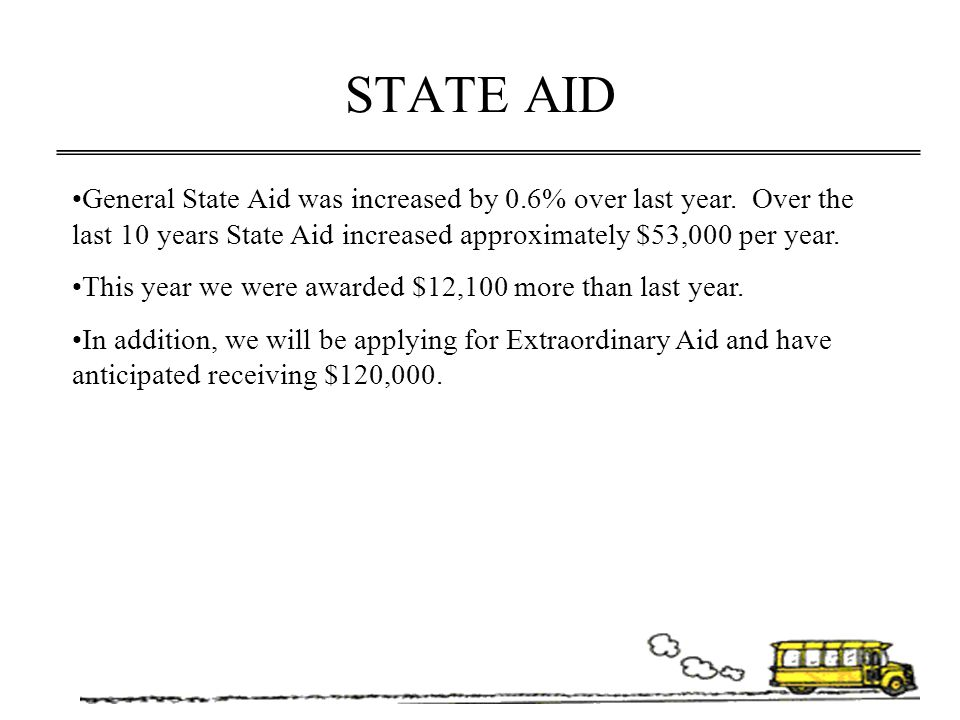 STATE AID General State Aid was increased by 0.6% over last year. Over the last 10 years State Aid increased approximately $53,000 per year.