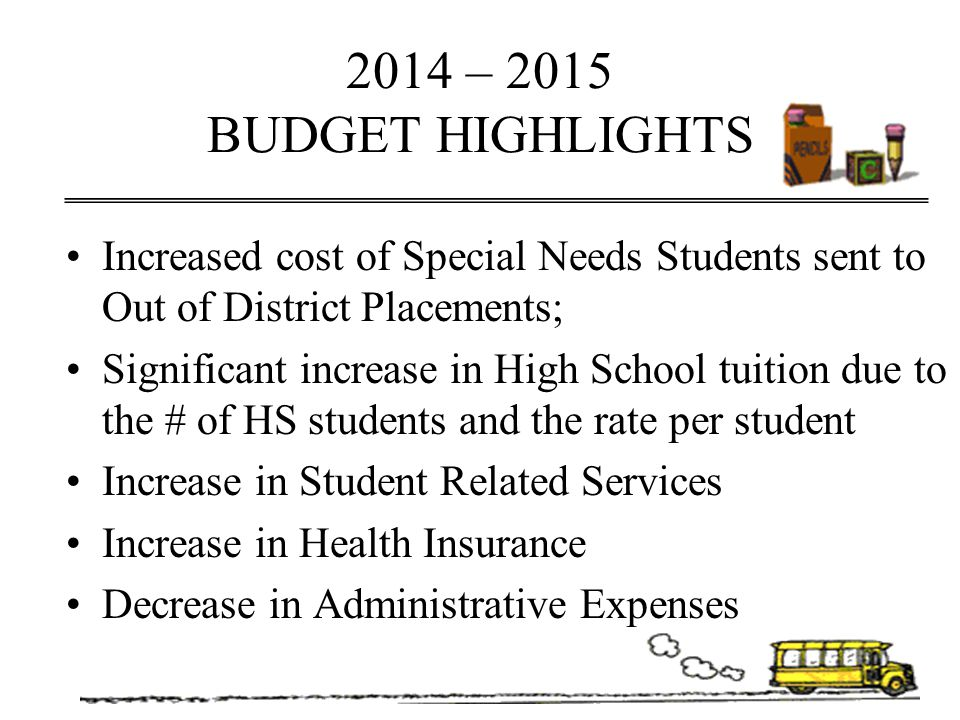 2014 – 2015 BUDGET HIGHLIGHTS Increased cost of Special Needs Students sent to Out of District Placements;