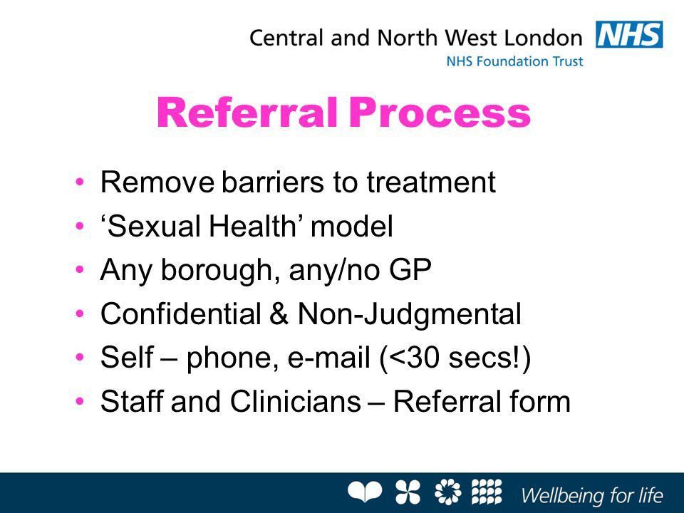 Referral Process Remove barriers to treatment 'Sexual Health' model