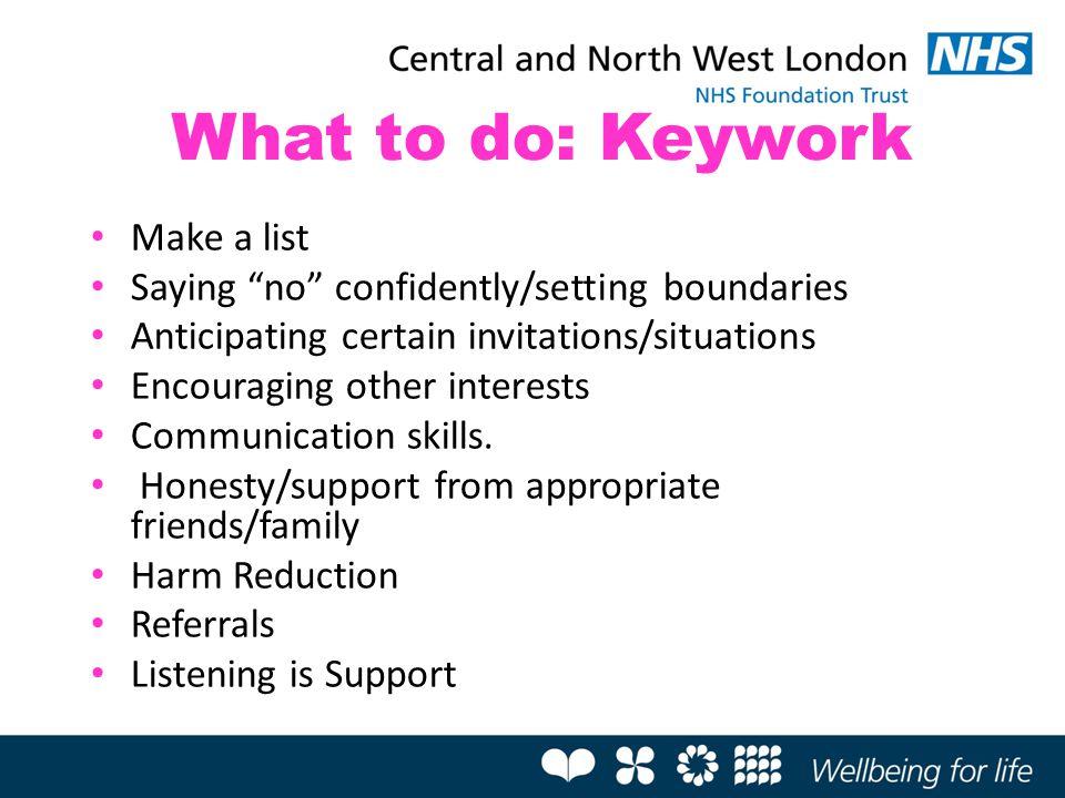 What to do: Keywork Make a list