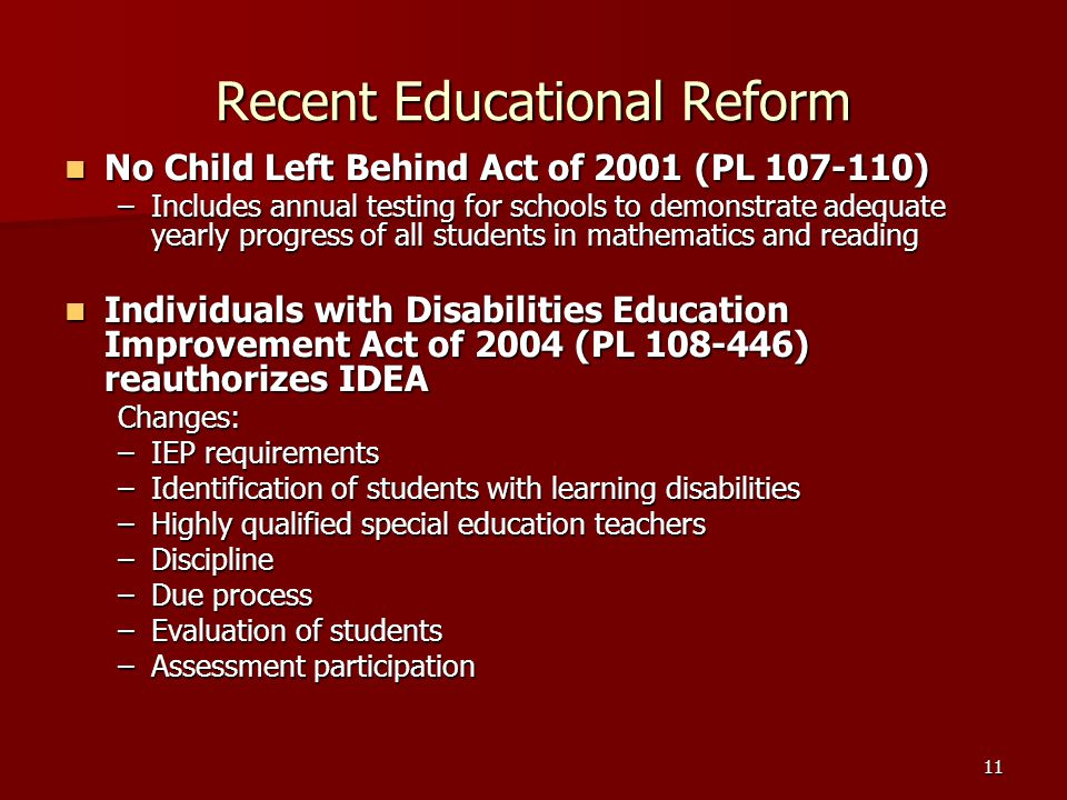 Recent Educational Reform