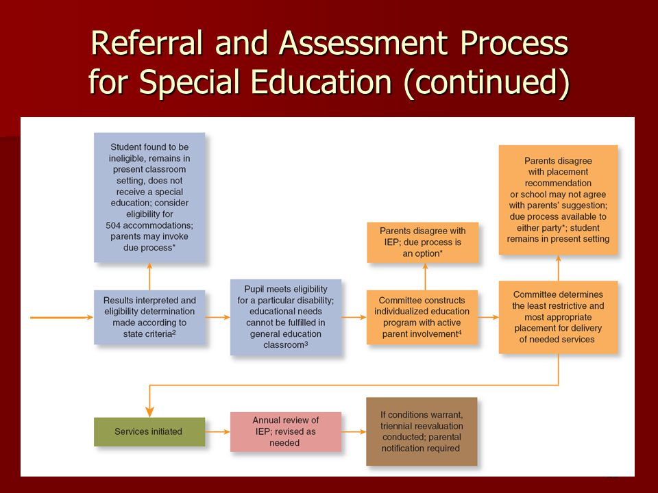 Referral and Assessment Process for Special Education (continued)