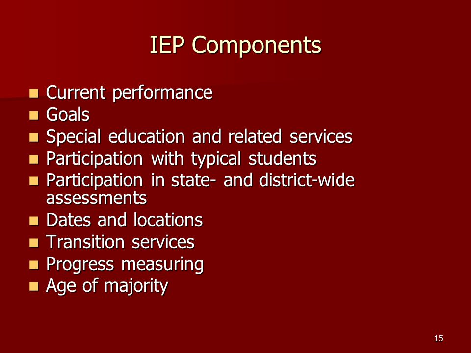 IEP Components Current performance Goals