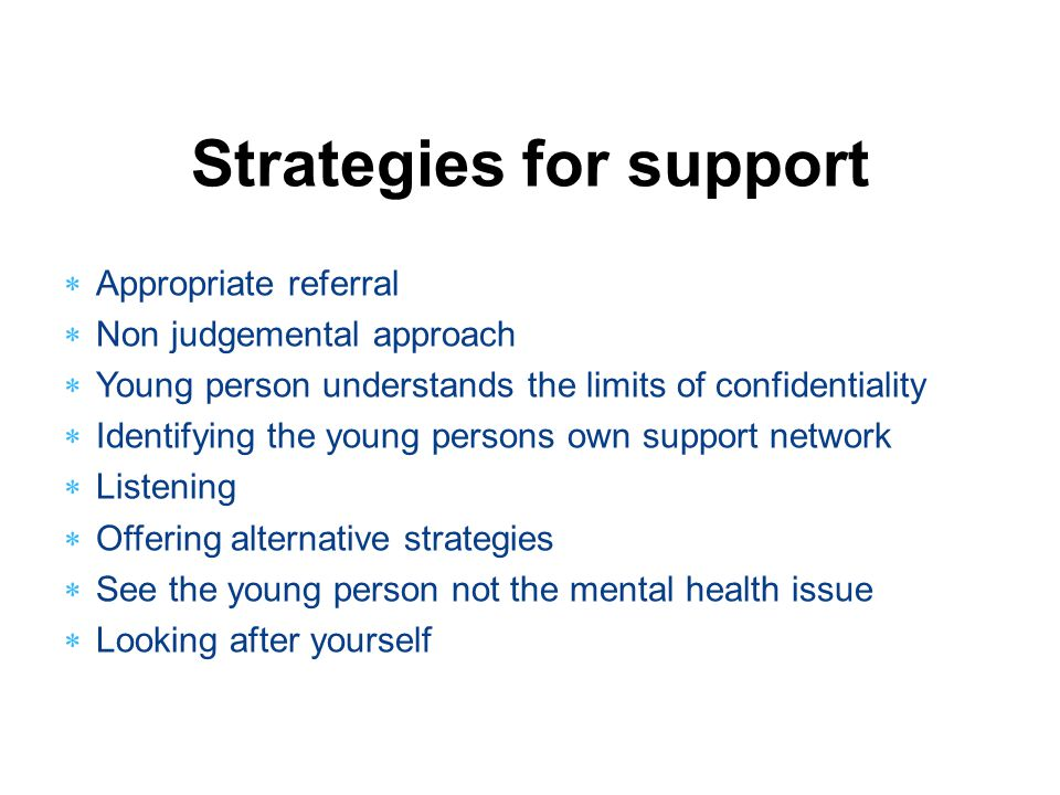 Strategies for support