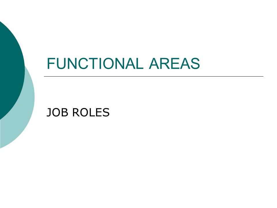 FUNCTIONAL AREAS JOB ROLES
