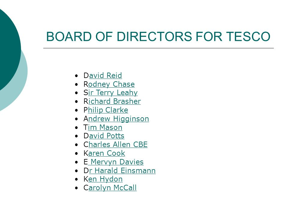 BOARD OF DIRECTORS FOR TESCO