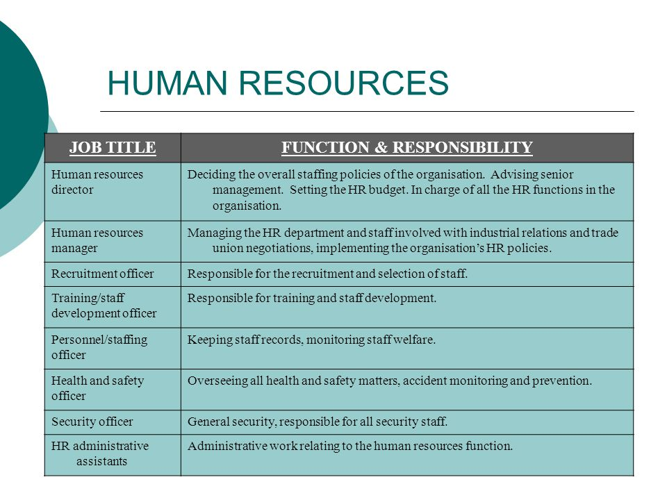 functions responsibilities of hr