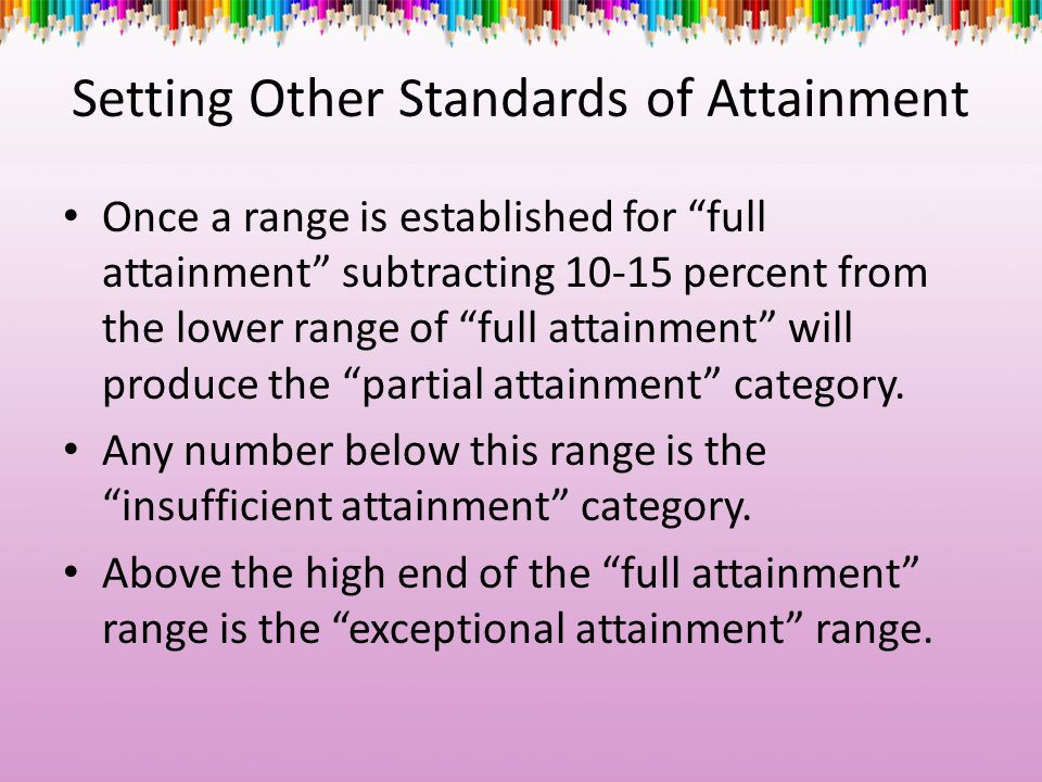 Setting Other Standards of Attainment